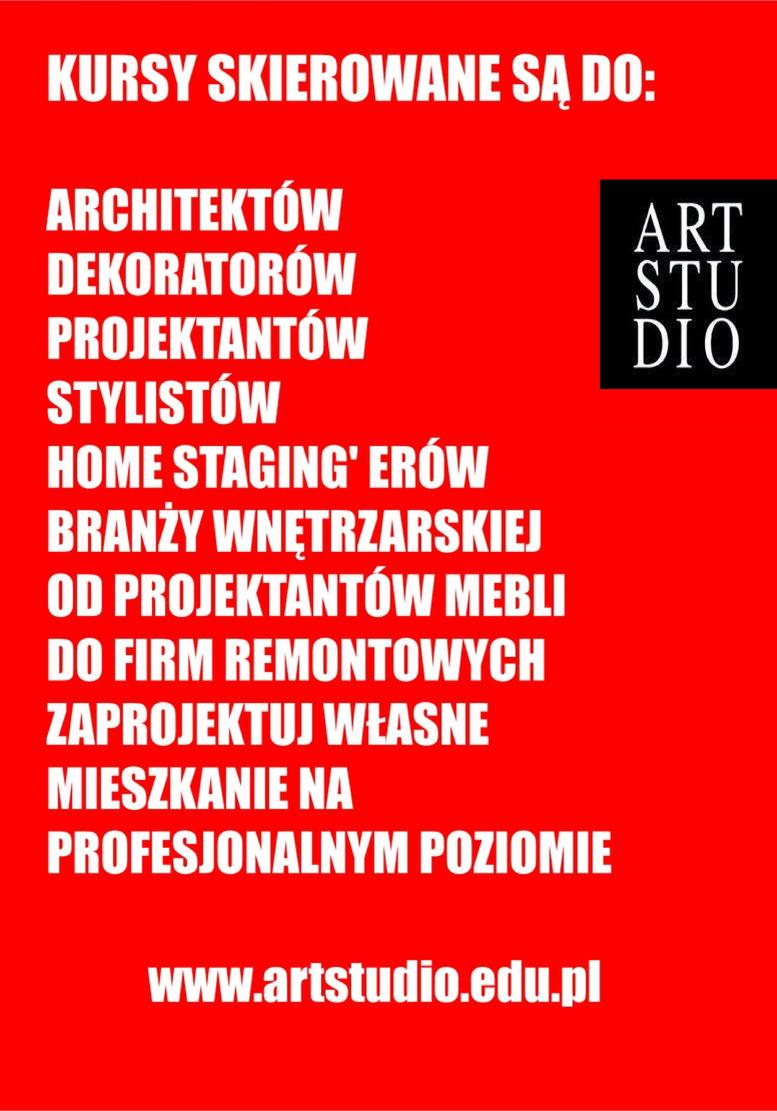 Kursy skierowane są do - architektów, dekoratorów, projektantów, stylistów, home staging'erów, branży wnętrzarskiej od projektantów mebli do firm remontowych. Zaprojektuj własne mieszkanie na profesjonalnym poziomie.